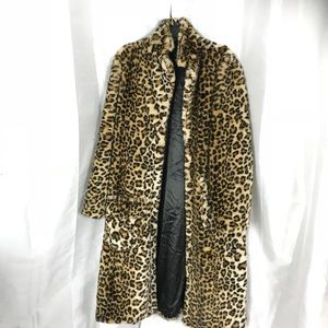 Leopard print fur long coat